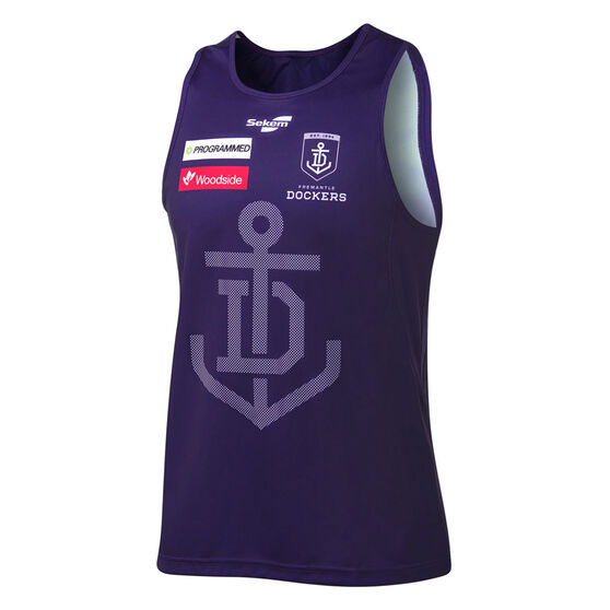 Fremantle Dockers 2021 Mens Training Singlet Purple XXL Purple, Purple, rebel_hi-res