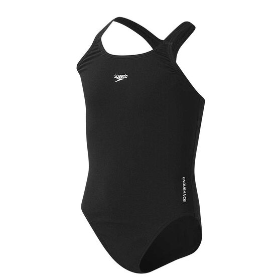 Speedo Girls Endurance Medalist Swim Suit Black 8, Black, rebel_hi-res