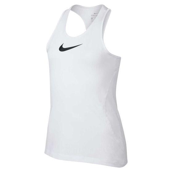 Nike Pro Girls Tank, White / Black, rebel_hi-res