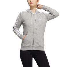 adidas Womens Essentials Full Zip Hoodie Grey XS, Grey, rebel_hi-res