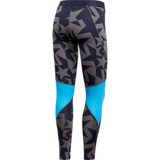 adidas Womens Alphaskin Iteration Sport Long Tights Navy Blue XS, Navy Blue, rebel_hi-res
