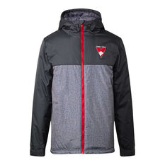 Sydney Swans 2021 Mens Retro Stadium Jacket Grey S, Grey, rebel_hi-res