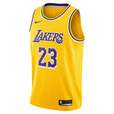 56ffe72fcab Nike Los Angeles Lakers LeBron James 2019 Mens Swingman Jersey Yellow S,  Yellow, ...