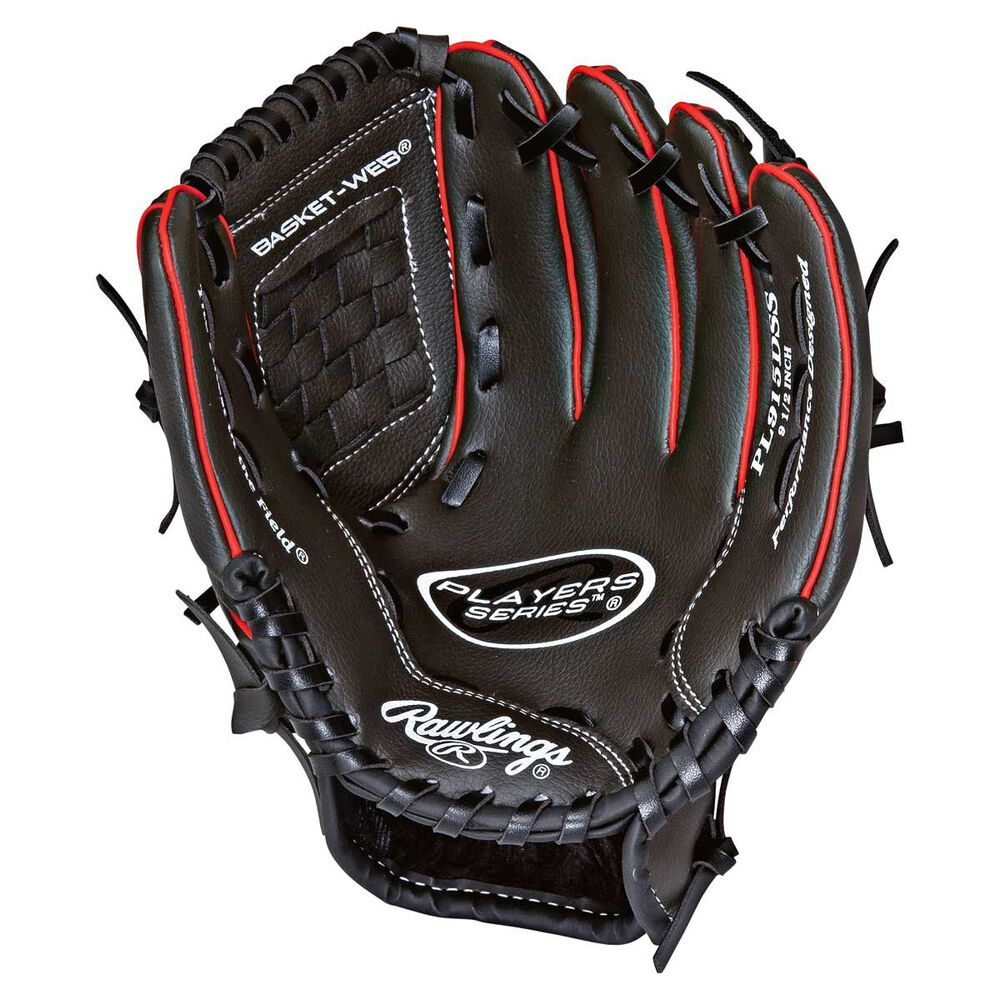 Rebel Sport Inner Gloves: Rawlings Players Right Hand 9.5 Ball Glove Grey / Red