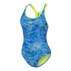 Speedo Girls Boom Splashback One Piece Swimsuit, Blue, rebel_hi-res
