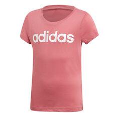 adidas Girls Essentials Linear Tee Pink 8, Pink, rebel_hi-res
