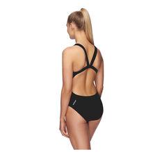 Speedo Womens Endurance Leaderback Swimsuit Black 8 8, Black, rebel_hi-res