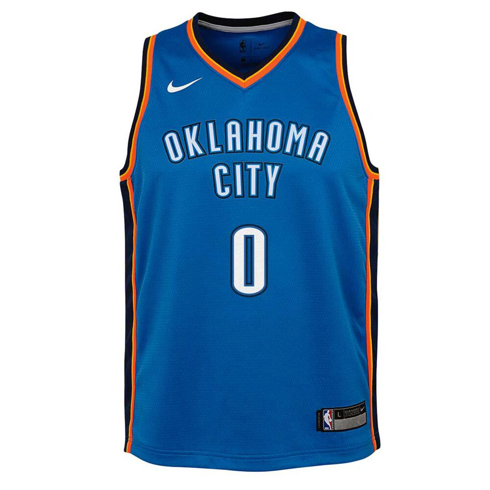 online retailer 78457 2276e Nike Oklahoma City Thunder Russell Westbrook 2018 Kids Swingman Jersey  Signal Blue S