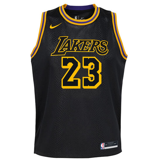 Nike Los Angeles Lakers LeBron James 2020/21 Kids Mamba City Edition Jersey, Black, rebel_hi-res
