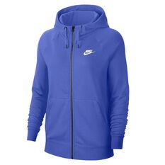 Nike Womens Sportswear Essentials Full Zip Fleece Hoodie Blue XS, Blue, rebel_hi-res