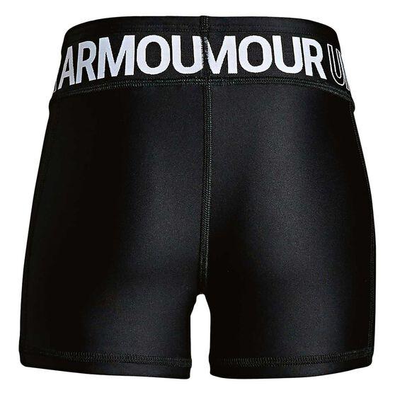 Under Armour Girls HeatGear Armour Shorty Shorts, Black / White, rebel_hi-res