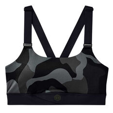 Under Armour Womens Rush Mid Camo Sports Bra Black XS, Black, rebel_hi-res
