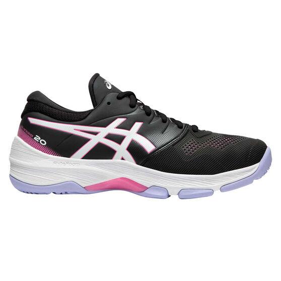 Asics GEL Netburner 20 D Womens Netball Shoes, Black / White, rebel_hi-res