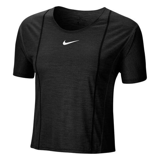 Nike Womens Icon Clash City Sleek Running Tee, Black, rebel_hi-res