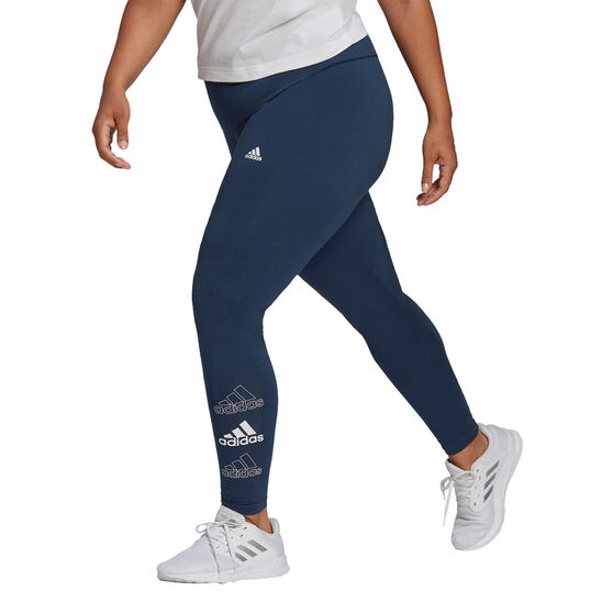 adidas Womens Essentials Stacked Logo High Rise Tights Plus, Blue, rebel_hi-res