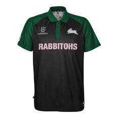 South Sydney Rabbitohs 2021 Mens Polo Black S, Black, rebel_hi-res