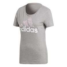 adidas Womens Foil Badge Of Sport Tee Grey XS Adult, Grey, rebel_hi-res