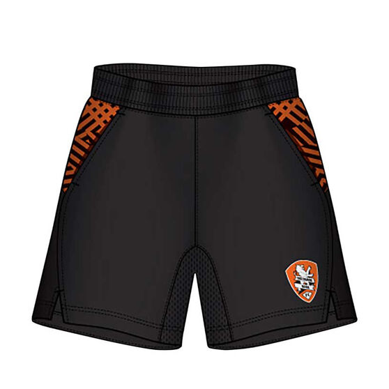Brisbane Roar Mens Supporter Training Shorts, Black, rebel_hi-res