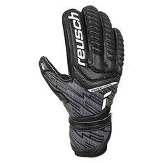 Reusch Attrakt Solid Junior Finger Support Goalkeeping Gloves Black 4, Black, rebel_hi-res