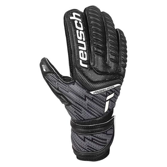 Reusch Attrakt Solid Junior Finger Support Goalkeeping Gloves, Black, rebel_hi-res