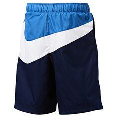 Nike Boys Oversized Swoosh Woven Shorts, Navy / Blue, rebel_hi-res
