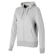Ell & Voo Womens Harper Fleece Full Zip Hoodie Grey XS, Grey, rebel_hi-res