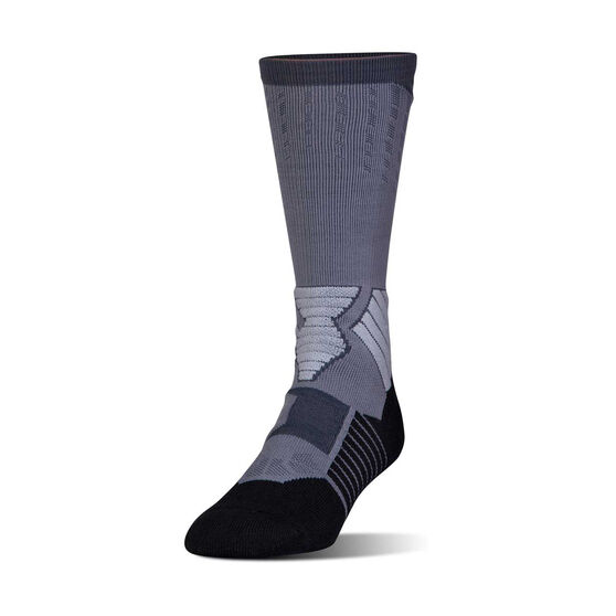 Under Armour Mens Basketball Drive Crew Socks, Grey / White, rebel_hi-res
