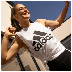 adidas Womens Badge of Sport Cotton Tank White XS, White, rebel_hi-res