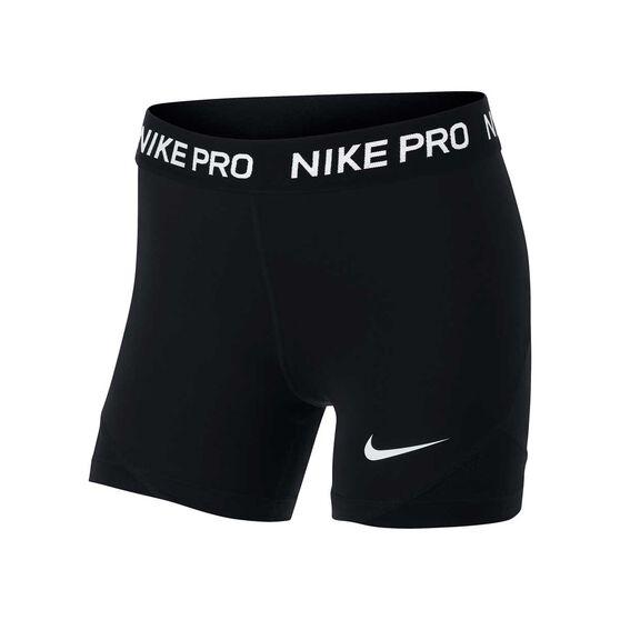 Nike Girls Pro Boy Leg Shorts, Black / White, rebel_hi-res