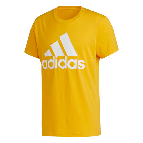 adidas Mens Badge of Sport Tee, Yellow, rebel_hi-res