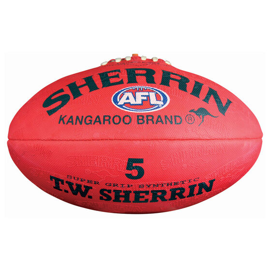Sherrin Synthetic Australian Rules Ball Red 5, , rebel_hi-res