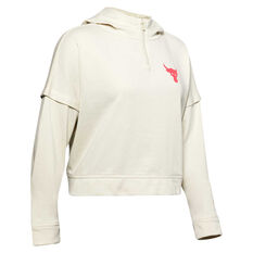 Under Armour Womens Project Rock Terry Hoodie White XS, White, rebel_hi-res