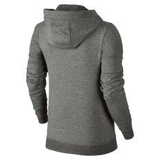 Nike Womens Sportswear Fleece Hoodie, Grey / White, rebel_hi-res