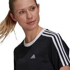 adidas Womens Essentials 3-Stripes Boyfriend Tee, Black, rebel_hi-res