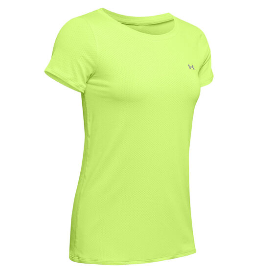 Under Armour Womens HeatGear Armour Tee, Lime, rebel_hi-res
