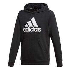 adidas Boys Must Haves Badge of Sport Hoodie Black / White 10, Black / White, rebel_hi-res