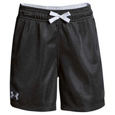Under Armour Girls Center Spot Training Shorts Black / Grey XS, Black / Grey, rebel_hi-res
