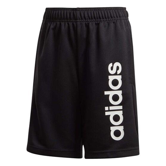 adidas Boys Linear Knit Training Shorts, Black / White, rebel_hi-res