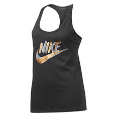 Nike Womens Sportswear Metallic Racer Tank Black XS, Black, rebel_hi-res