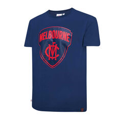 Melbourne Demons Mens Supporter Logo Tee Blue S, Blue, rebel_hi-res