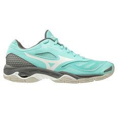 Mizuno Wave Phantom Womens Netball Shoes Teal/Grey US 6.5, Teal/Grey, rebel_hi-res