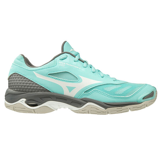 Mizuno Wave Phantom Womens Netball Shoes, Teal/Grey, rebel_hi-res