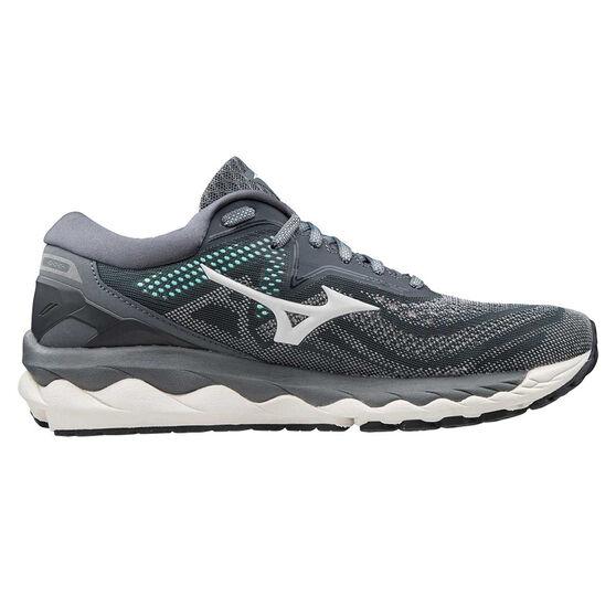 Mizuno Wave Sky 4 Womens Running Shoes, Grey/Blue, rebel_hi-res