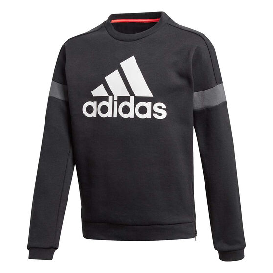adidas Boys Branded Crew Sweatshirt, Black/White, rebel_hi-res