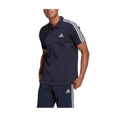 adidas Mens Essentials Pique 3-Stripes Polo Navy XS, Navy, rebel_hi-res
