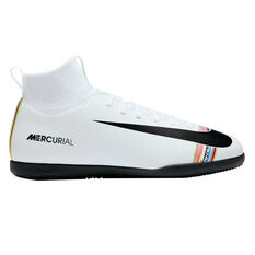 Nike Mercurial SuperflyX VI Club Kids Indoor Soccer Shoes White / Black US 1, White / Black, rebel_hi-res