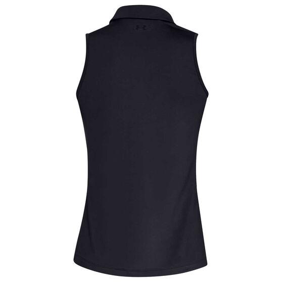 Under Armour Womens UA Zinger Sleeveless Polo, Black, rebel_hi-res