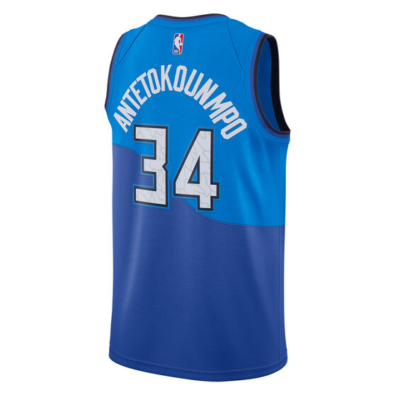 Nike Milwaukee Bucks Giannis Antetokounmpo 2020/21 Kids City Edition Swingman Jersey, Blue, rebel_hi-res
