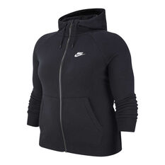 Nike Womens Sportswear Essentials Full Zip Hoodie Plus Black XL, Black, rebel_hi-res