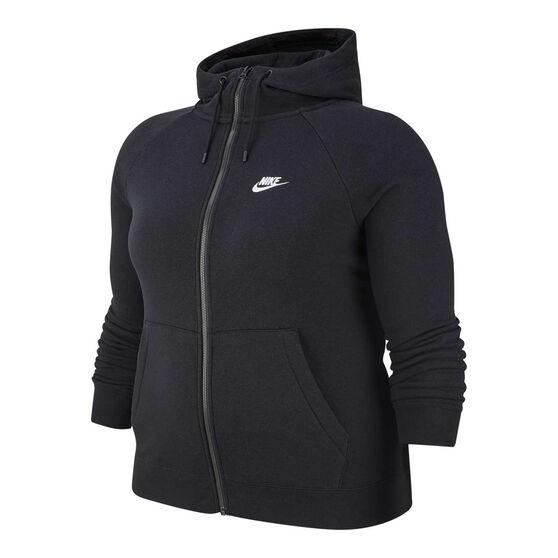 Nike Womens Sportswear Essentials Full Zip Hoodie Plus, Black, rebel_hi-res